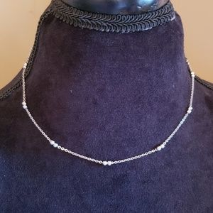 Sterling silver Femanine necklace ball beads